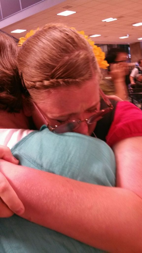 Hugging my mom after 5 months